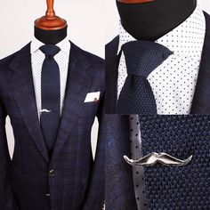 """The Glasgow polka shirt, Navy knitted tie and Silver mustache tie clip   www.Grandfrank.com"""