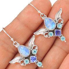 Sacred Angel Wings - Rainbow Moonstone 925 Silver Earrings Jewelry EE23917 | eBay