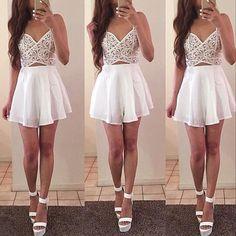 White Cut Out Skater Dress - Fashion Frenzzie