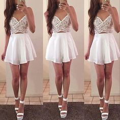 White Cut Out Skater Dress - Fashion Frenzzie
