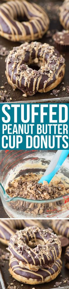 Love peanut butter cups? Make homemade donuts stuffed with peanut butter cups, topped with chocolate ganache and peanut butter drizzle. Stuffed Peanut Butter Cup Donuts!