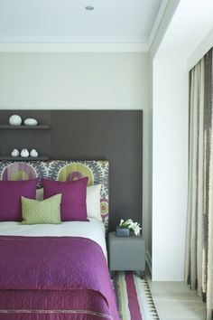 bedroom, i really like the lines of this room, and the idea of the grey behind the headboard, but in midnight blue instead