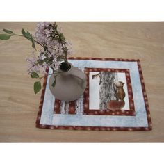 """Quilted Mug Rug """"Squirrels"""" Snack Mat, Candle Mat, Small Placemat,... ($18) ❤ liked on Polyvore featuring home, kitchen & dining, table linens, fabric placemats, quilted table mats, handmade placemats, fabric table mats and quilting placemats"""