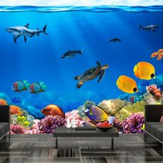 Durable, water-resistant and scratch-resistant non-woven wallpaper 'Underwater kingdom' for wall application. A wallpaper 'Underwater kingdom', with an inspiring motif, will be an impressive decoration for every room. Non-woven wallpapers are applied with glue. It can be placed in every room, even bathroom or kitchen. Non-woven wallpaper, shiny coating. 100% non-woven material covers slight surface imperfections. It creates warming, isolating layer and allows the wall to breathe…
