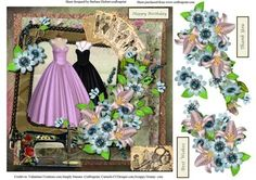 Sewing a Ballgown Card Topper Decoupage on Craftsuprint - Add To Basket!