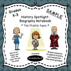 ***FREEBIE***  Great resource to use with Story of the World Volume 2 - The Middle Ages.  This is a sample of the notebooking pages for one historical figure - Joan of Arc from the growing bundle of Narration Pages and Color By Sight Word worksheets targeted towards the K-3rd grades. Click on the link in the product sample to get your copy of the entire Historical Figures Notebooking Pages - Middle Ages.