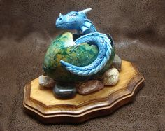 Baby dragon hatchling OOAK turquoise in a green shell - handmade polymer clay, gourd, and mixed media sculpture by RedNebulaStudios, $120.00