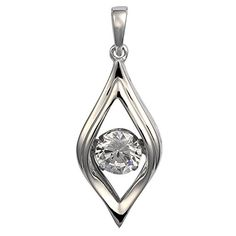 Moving Stone 925 Sterling Silver 1.42 ct Cubic Zirconia Pendant Necklace, 42+3cm, Adjustable YL Jewelry http://www.amazon.com/dp/B01EFB8E02/ref=cm_sw_r_pi_dp_-vhfxb0E1H6Y7