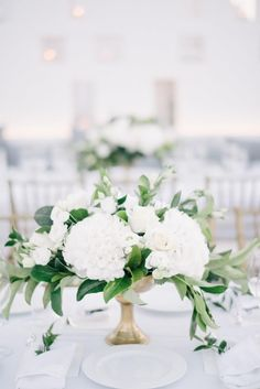 Wedding Color Trends 45 Neutral Spring Wedding Color Ideas simple elegant white and greenery wedding centerpiece. White Flower Centerpieces, Wedding Table Centerpieces, Wedding Decorations, Centerpiece Ideas, Wedding Ideas, Wedding Venues, White Wedding Flower Arrangements, September Wedding Centerpieces, Tall Centerpiece