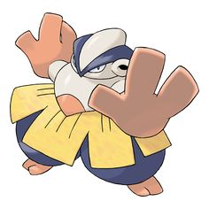 Hariyama - It stomps on the ground to build power. It can send a truck flying with a straight-arm punch. It loves to match power with big-bodied Pokémon. It can knock a truck flying with its arm thrusts.