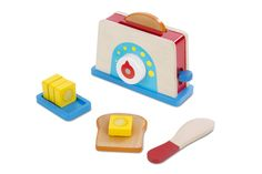 Complete your little one's pretend kitchen with Melissa & Doug's Bread & Butter Toaster Set. The wooden set includes a toaster, a stick of butter that can be sliced with a child-friendly wooden knife, and 2 pieces of toast. Wooden Play Food, Wooden Toys, Lego Duplo, Toaster, Play Kitchen Accessories, Pretend Kitchen, Wooden Slices, Melissa & Doug, Pretend Play
