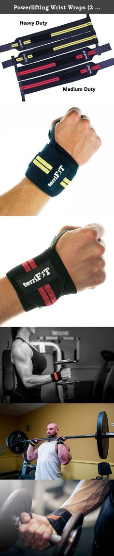 "Powerlifting Wrist Wraps (2 Pairs) | Heavy And Medium Duty | Weightlifting | 18"" Long 