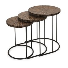Hoki Coco Shell Tables - Set of 3 | IMAX Worldwide Home | Your Leading Supplier for Home and Garden Accessories