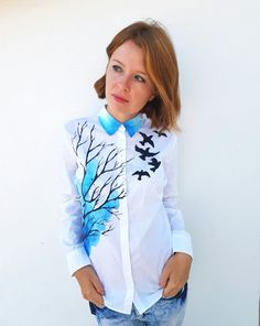 Handpainted  tree birds unique shirt art buttons by Dariacreative