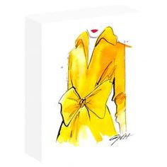 Hang this artful canvas above your living room seating group to create a stylish conversation space, or display it in the foyer for eye-catching appeal. Showcasing a ready-to-hang, gallery-wrapped design, this chic print features a yellow trenchcoat motif.  Product: Canvas printConstruction Material: Pine wood stretchers and acid-free cotton canvasFeatures:   Printed with water resistant, solvent inksMatte finish artist canvasMachine made and hand assembled  Cleaning and Care: Clean with a…
