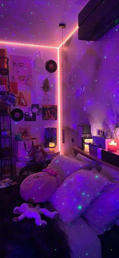 Indie Room Decor, Cute Bedroom Decor, Room Design Bedroom, Girl Bedroom Designs, Teen Room Decor, Room Ideas Bedroom, Bedroom Inspo, Pinterest Room Decor, Neon Bedroom