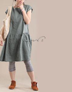 Spring Dress Plus Size Dresses Womens Dress Plus Size Tunic Dress Green Color Chic Linen Womans Dress 1X 2X 3X Custom Made on Etsy, $69.00