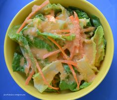Japanese Salad I found this salad dressing recipe from . It tasted exactly like the one we ate at the sushi restaurant. The only change I made was to substitute olive oil for peanut oil. I guara. Ginger Salad Dressings, Salad Dressing Recipes, Japanese Salad Dressings, House Dressing Recipe, Sushi Restaurants, Think Food, Food For Thought, Chutneys, Asian Recipes