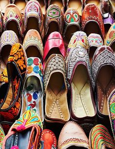 Traditional mojari shoes for sale at Colaba Causeway markets—about 300 rupees, or $4 per pair.