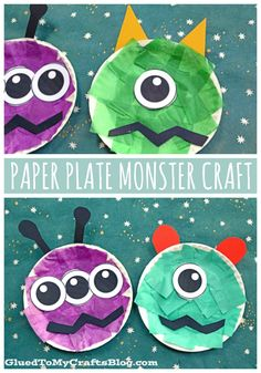 Fall & Halloween Crafts For Kids Paper Plate Monster – Kid Craft Idea For Halloween Halloween Arts And Crafts, Halloween Crafts For Toddlers, Halloween Activities, Summer Activities, Space Activities, Halloween Items, Family Activities, Halloween Decorations, Halloween Costumes