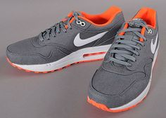 Nike Air Max 1 - Cool Grey / White - Total Orange (Denim Twill)   KicksOnFire.com