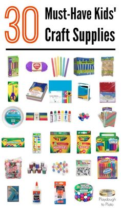 30 Must-Have Kids' Craft Supplies - Playdough To Plato 30 must-have kids' craft supplies. A go-to guide for stocking your kids' craft closet. {Playdough to Plato} Want excellent ideas concerning arts and crafts? Kids Craft Box, Kids Craft Supplies, Craft Activities For Kids, Arts And Crafts Supplies, Projects For Kids, Diy For Kids, Craft Ideas, Toddler Art Supplies, Art Kits For Kids