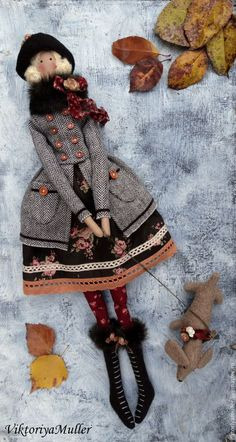 Adorable Tilda doll & puppy-dog, all ready for an Autumn walk. Doll Crafts, Diy Doll, Doll Toys, Baby Dolls, Tilda Toy, Sewing Dolls, Soft Dolls, Cute Dolls, Fabric Dolls