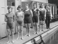 The swimming champions of England in November 1919, wearing the streamlined swimwear of the day (L-R: S F Sawcroft, Gladys Jones, Bell White, Doris Hart, Harold Anderson and tutor Walter Brickett)