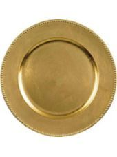 Gold Metallic Round Plastic Charger 14in -Chargers -Entertaining & Serving - Party City