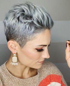 21 Best White Pixie Short Haircuts Ideas To Be Cool - - Short white pixie haircut, short haircut ideas, white pixie haircut, ash white hair color, short ha - Short Grey Hair, Short Hair Cuts For Women, Short Hairstyles For Women, Style Short Hair Pixie, Grey Pixie Hair, Ash Hair, Long Pixie, Undercut Hairstyles, Cool Hairstyles