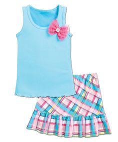 From CWDkids: Flower Tank & Plaid Skirt Set