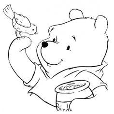 Disegno di Winnie Pooh e l'Uccellino da colorare