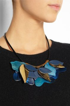 Marni  Gold-tone, leather and horn necklace £354.17