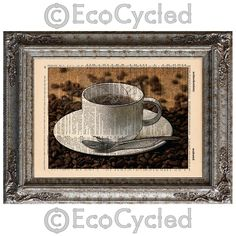New to EcoCycled on Etsy: Hot Coffee and Coffee Beans on Vintage Upcycled Dictionary Art Print Book Art Print Java Recycled Caffeine Coffee Lover (10.00 USD)