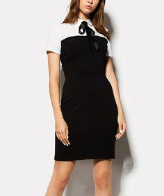 Cardo Black & White Color Block Tie-Neck Dress | zulily