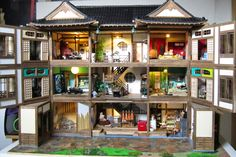 #japanese #ryokan #dollhouse roof installed and building is complete. View of house open.