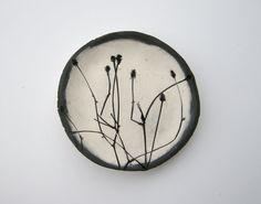 "samovard: "" Black and White Ceramic Botanical Dish (no 182) https://www.etsy.com/listing/125481308/black-and-white-ceramic-botanical-dish """