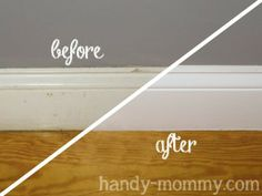 Handy Mommy: Making Old Baseboards Look Pretty- the caulk tip is what makes this worth pinning