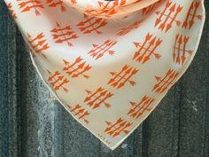 "16"" Square Arrow Print Silk Scarf // BEAM Textiles"