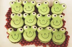 Frog macarons at a Reptile boy birthday party! See more party ideas at CatchMyParty.com!