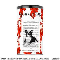 HAPPY HOLIDAYS VINTAGE BOSTON BULL CHOCOLATE HOT CHOCOLATE DRINK MIX
