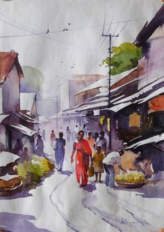 Awesome Water Color Painting Art by Elayaraja ~ chori-choriyaan चोरी-चोरियाँ Watercolor Landscape Paintings, Landscape Drawings, Watercolor Artwork, Painting Art, Landscape Photos, Watercolor Video, Watercolor Water, Watercolor Trees, Painting Lessons