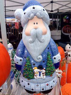 Christmas Santa Home Decor  Ceramic Santa by JacolinisCeramics