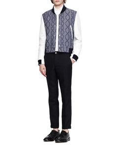 Thom Browne Jacquard/Leather Varsity Jacket, Oxford Shirt & Tapered Ankle-Cuff Trousers - Bergdorf Goodman