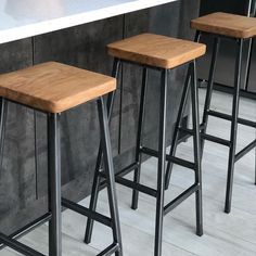 http://www.paulframpton.co.uk/seating/square-seat-steel-and-oak-industrial-bar-stool 'Bruce' barstools in their new Cockfosters home #barstool #counterstools #industrialstyle #interiordesign #interiors #customfurniture #bespokefurniture