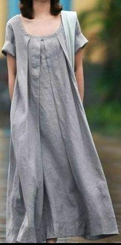 Grey Linen dress women dress fashon dress Long dress with a belt. $58.50, via Etsy.