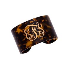 Tortoise Cuff Bracelet - Monogrammed