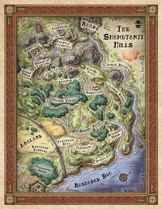 """A user interface map of the Shamutanti Hills, created for Inkle's new Ipad gamebook """"Steve Jackson's Sorcery!"""" The Shamutanti Hills"""