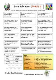 Let's Talk about Family worksheet - Free ESL printable worksheets made by teachers family, conversation English Tips, English Lessons, Learn English, French Lessons, Spanish Lessons, Learn French, Conversation Cards, Conversation Questions, Let Them Talk
