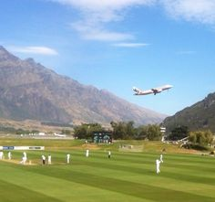 Queenstown (NZ) Cricket Ground by Test Match Special Play N Go, Cricket Sport, Trinidad And Tobago, New Zealand, Golf Courses, Things To Do, Around The Worlds, England, Australia